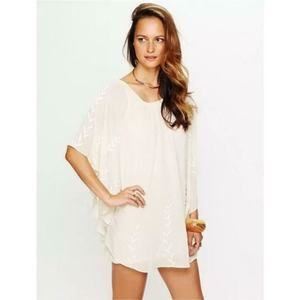NWT Free People Nude Cape Dress Beaded